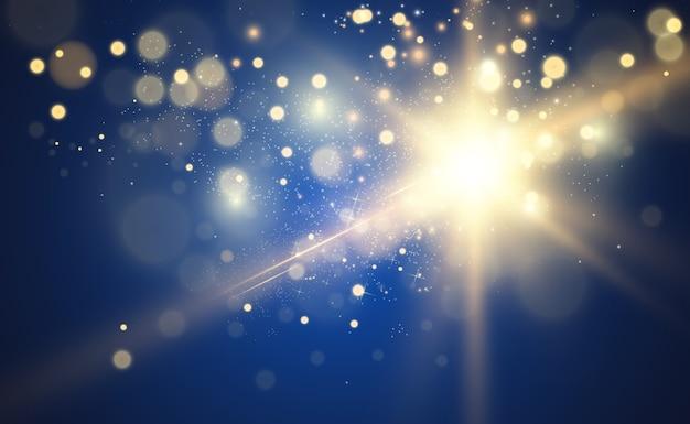 Złota jasna gwiazda efekt świetlny jasna gwiazda piękne światło ilustrujące gwiazdę bożonarodzeniową białe iskry błyszczą specjalnym światłem błyszczy na przezroczystym tle