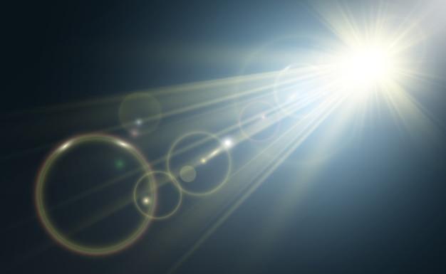 Złota jasna gwiazda. efekt świetlny jasna gwiazda. piękne światło