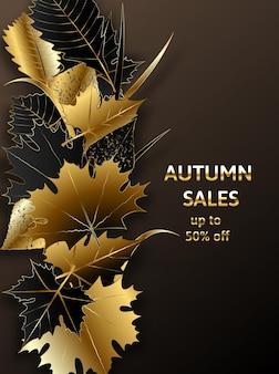 Złota jesień złote czarne jesienne liście wektor sprzedaż transparent