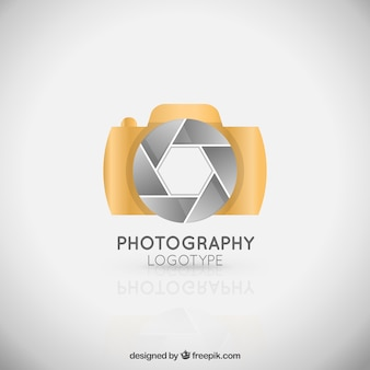 Złota kamera logo eleganckie
