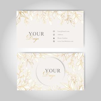 Złota karta kwiatowy wizytówki szablon