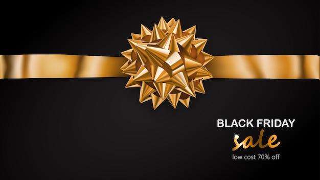 Złota kokarda z poziomą wstążką z cieniem i napisem black friday sale na czarnym tle