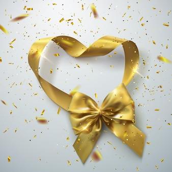 Złota kokardka i serce wstążka w kształcie pętli ze złotym błyszczącym konfetti