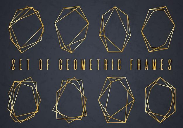 Złota kolekcja geometrycznego wielościanu