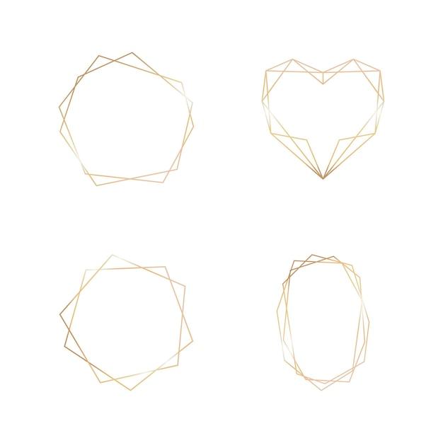 Złota kolekcja geometrycznej ramki na białym tle. element dekoracyjny do logo, karty, zaproszenia. luksusowe szablony, styl art deco na zaproszenie na ślub.