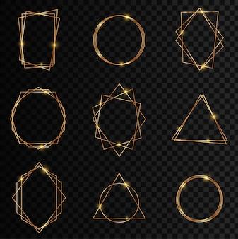 Złota kolekcja geometrycznej ramy. efekt blasku brokatu na ciemnym przezroczystym tle. element dekoracyjny do logo, marki, karty, zaproszenia.