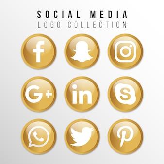 Złota kolekcja logo mediów społecznościowych
