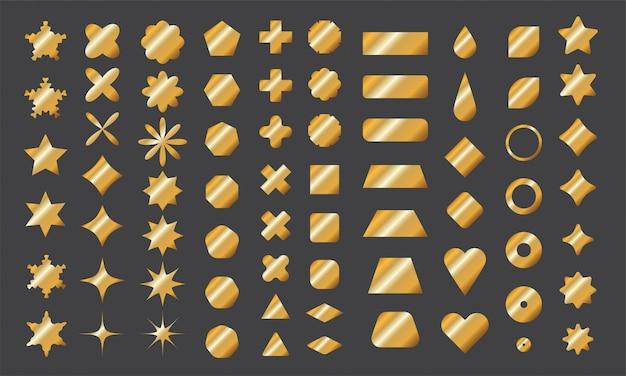 Złota kolekcja podstawowych kształtów do twojego projektu. elementy wielokątne o ostrych i zaokrąglonych krawędziach ze złotym gradientem