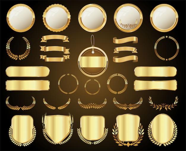 Złota kolekcja różnych odznak i etykiet