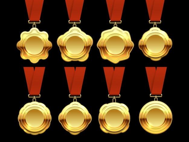 Złota kolekcja wektor medale na czerwonymi wstążkami