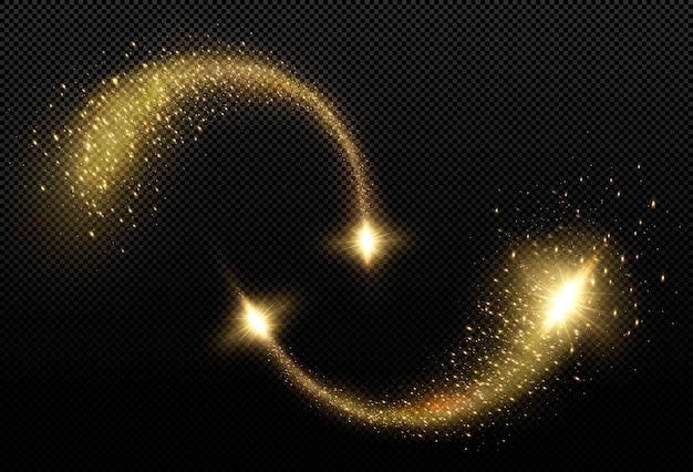 Złota kometa świetlna. magiczna linia światła. to jest spadająca złota gwiazda. świąteczny element wystroju.