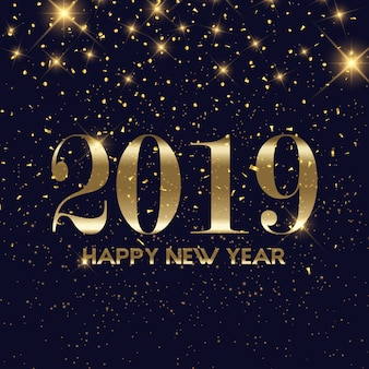 Złota konfetti szczęśliwego nowego roku tła