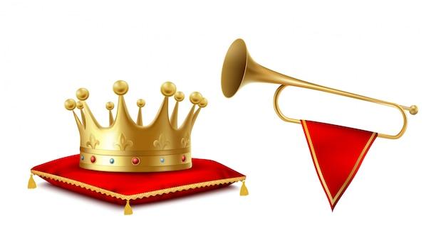 Złota korona i miedziany fanfarowy set odizolowywający na białym tle.