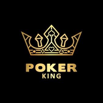 Złota korona króla dla logo pokera z asem
