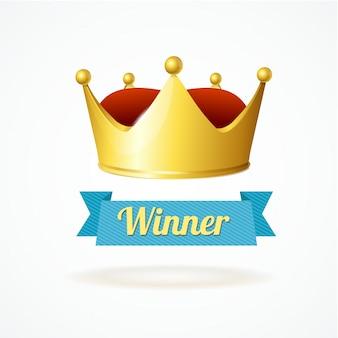 Złota korona króla na białym tle zwycięzca simpol