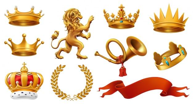 Złota korona króla. wieniec laurowy, trąbka, lew, wstążka.
