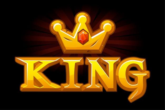 Złota korona króla z diamentem i logo.