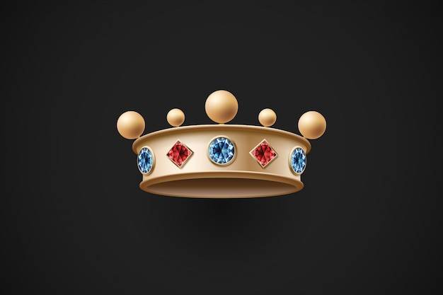 Złota korona królewska z czerwonymi i niebieskimi brylantami