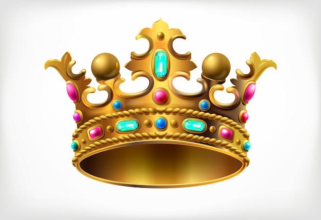 Złota korona królewska z wielobarwnymi kamieniami szlachetnymi