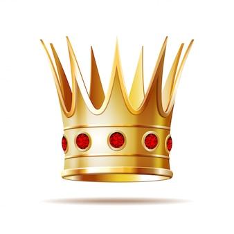Złota korona księżniczki na białym tle.