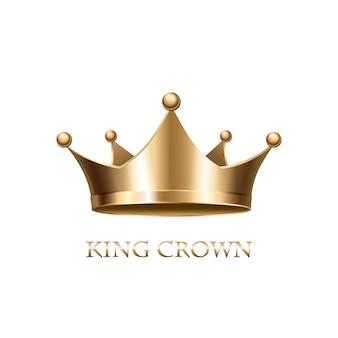 Złota korona na białym tle