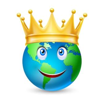Złota Korona Na Całym świecie Premium Wektorów
