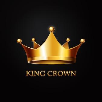 Złota korona na czarno