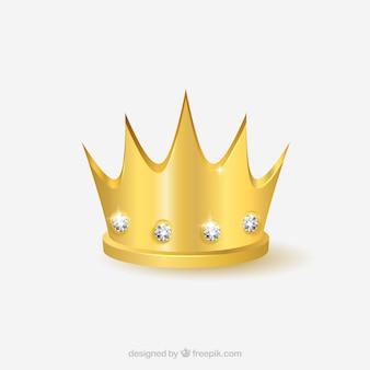 Złota korona z diamentami w realistycznym stylu
