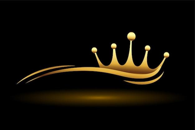 Złota korona z falistą linią