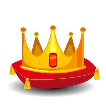 Złota korona z kamieniami szlachetnymi na białym tle