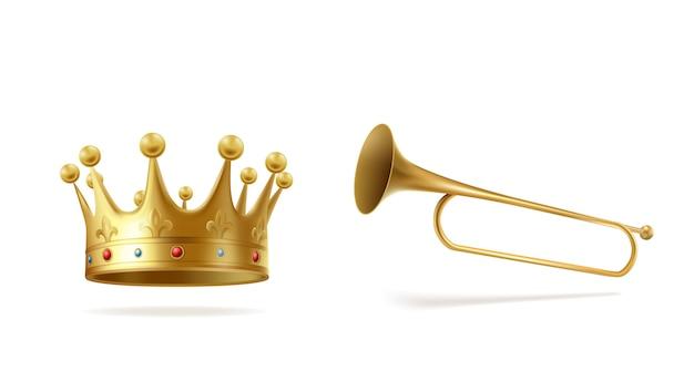 Złota korona z klejnotami i miedzianą fanfarą odizolowywającą na białym tle. ukoronowanie nakrycia głowy dla monarchy i zwiastowanie trąbki na ogłoszenie ceremonii, symbol królewski. realistyczna 3d wektorowa ilustracja.