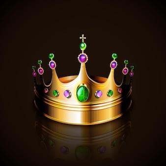 Złota korona z kolorowymi kryształkami