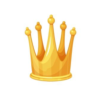 Złota korona. zdobywca pierwszego miejsca, królewska wysoka złota biżuteria, bogactwo. ikona na białym tle wektor złotej nagrody pierwsze miejsce stylu cartoon.