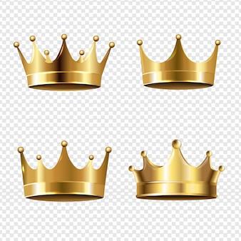 Złota korona zestaw przezroczystego tła