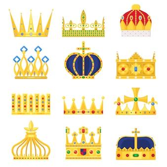 Złota korona zestawu króla