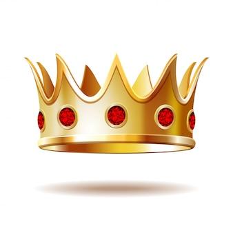 Złota królewska korona na białym tle.