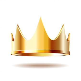 Złota królewska korona na bielu