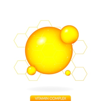 Złota kropla witaminy na białym tle realistyczny obiekt izolowane tło