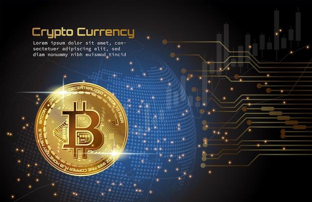 Złota kryptowaluta bitcoin nad niebieskim, kropkowanym cyfrowym tłem globu z cyfrowym obwodem