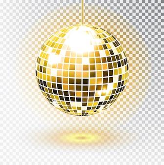 Złota kula dyskotekowa. ilustracja. odosobniony. element świetlny imprezowy night club. jasna lustrzana srebrna kula dla klubu disco. .