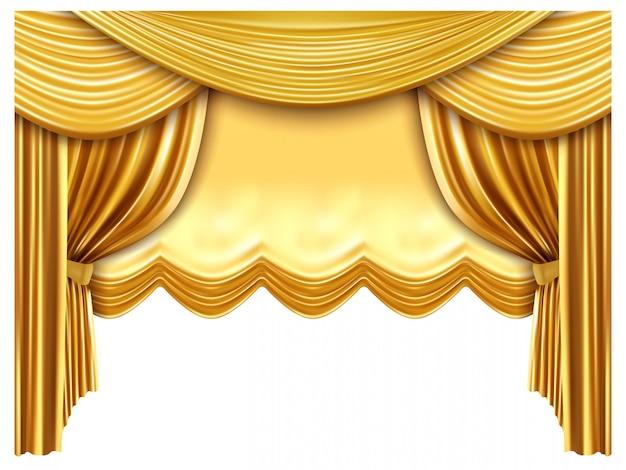 Złota kurtyna sceniczna. realistyczne jedwabne zasłony, luksusowe tło sceny operowej, złota opera, ilustracja zasłony teatralnej sceny portiere. premiera operowa i koncertowa, tkanina aksamitna