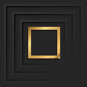Złota kwadratowa rama z cieniem na czarnym tle. złoty luksusowy prostokątny brzeg