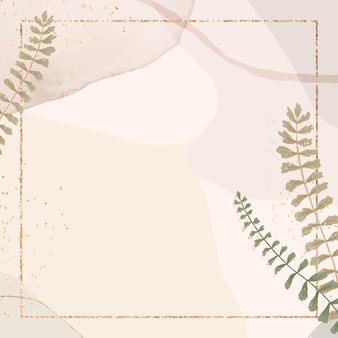 Złota kwadratowa ramka z liści na brązowym pastelu
