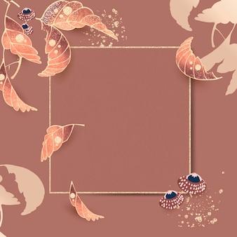 Złota kwadratowa ramka z motywami liści w stylu vintage na tle sieny