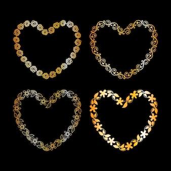 Złota kwiecista ramka w kształcie serca