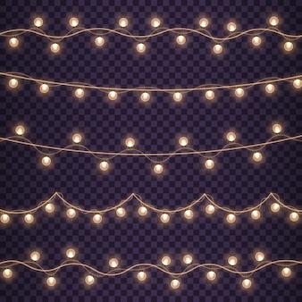 Złota lampa neonowa led string ze świecącymi żarówkami