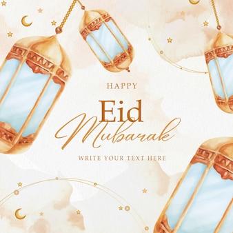 Złota lampka eid mubarak akwarela greeting card