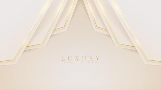 Złota linia luksusu na tle kremowego pastelowego koloru, ilustracja z wektora o nowoczesnym szablonie, który wydaje się cenny i drogi.
