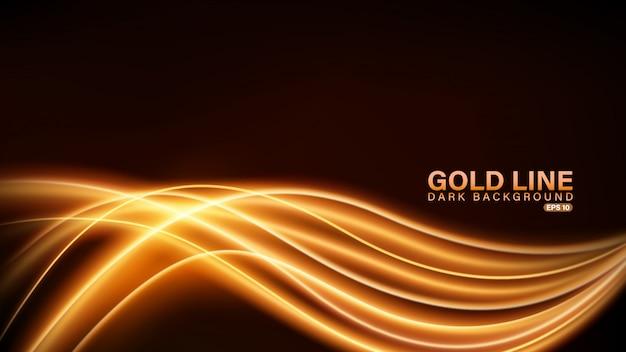 Złota linia światła na ciemnym tle