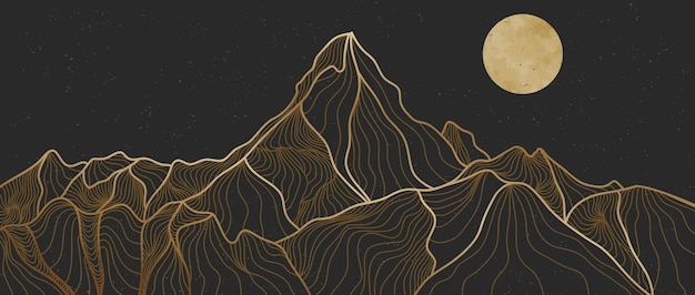Złota linia sztuki górskiej, abstrakcyjne górskie współczesne estetyczne tła krajobrazy. używać do drukowania sztuki, okładki, tła zaproszenia, tkaniny. ilustracja wektorowa